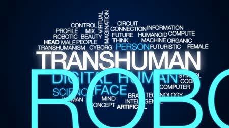 áramkör : Transhuman animated word cloud, text design animation. Stock mozgókép