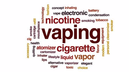курильщик : Vaping animated word cloud, text design animation. Стоковые видеозаписи