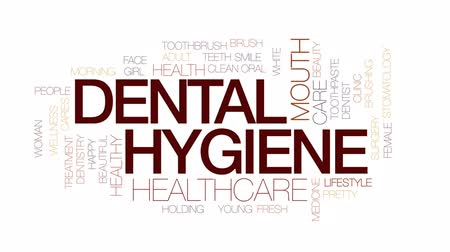 stomatologia : Dental hygiene animated word cloud, text design animation. Kinetic typography.