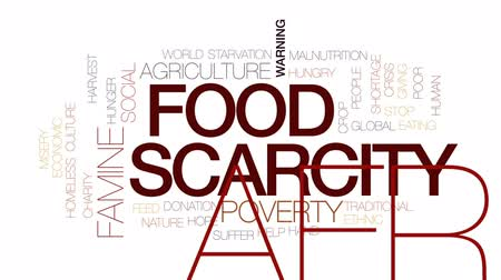 doação : Food scarcity animated word cloud, text design animation. Kinetic typography.
