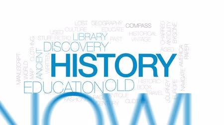 biblioteca : History animated word cloud, text design animation. Kinetic typography. Stock Footage