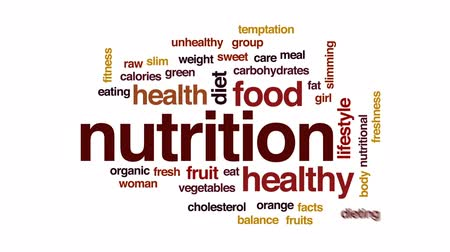 karbonhidratlar : Nutrition animated word cloud, text design animation. Stok Video