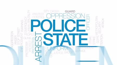 oppression : Police state animated word cloud, text design animation. Kinetic typography.