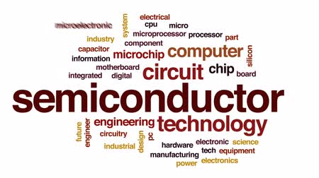 polovodič : Semiconductor animated word cloud, text design animation.