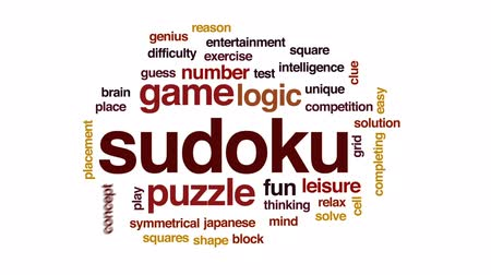 neúplný : Sudoku animated word cloud, text design animation.