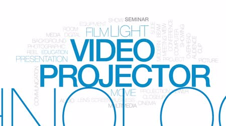 video reel : Video projector animated word cloud, text design animation. Kinetic typography.