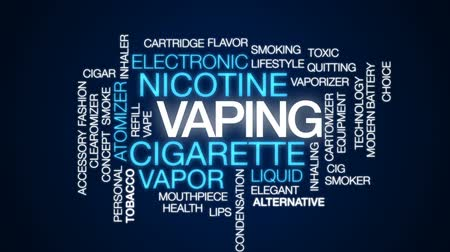 mouthpiece : Vaping animated word cloud, text design animation. Stock Footage
