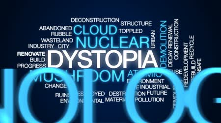 rebuild : Dystopia animated word cloud, text design animation.