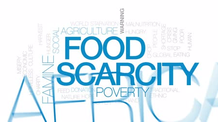 adomány : Food scarcity animated word cloud, text design animation.Kinetic typography.