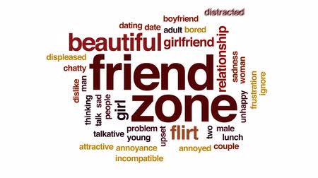 tarihleri : Friend zone animated word cloud, text design animation.