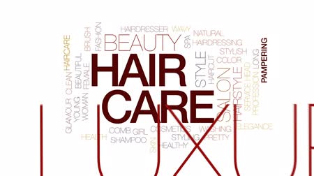 mimos : Hair care animated word cloud, text design animation.Kinetic typography.