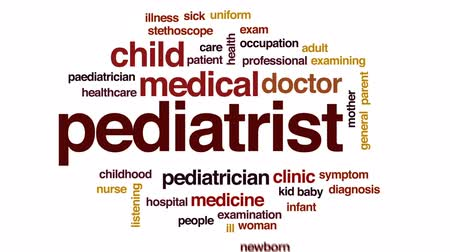 general practitioner : Pediatrist animated word cloud, text design animation.