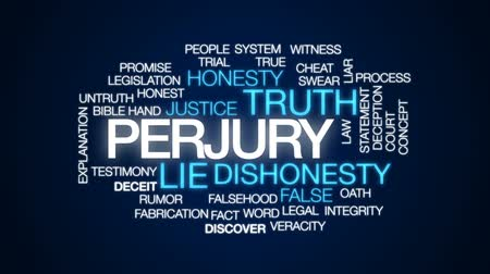 законодательство : Perjury animated word cloud, text design animation.