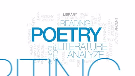 biblioteca : Poetry animated word cloud, text design animation.Kinetic typography.