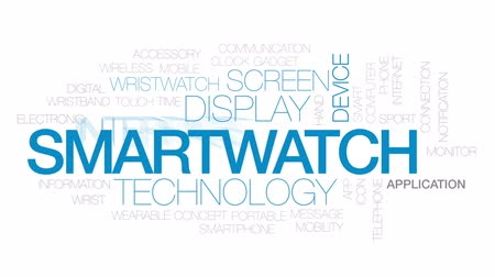 wristband : Smartwatch animated word cloud, text design animation.Kinetic typography. Stock Footage