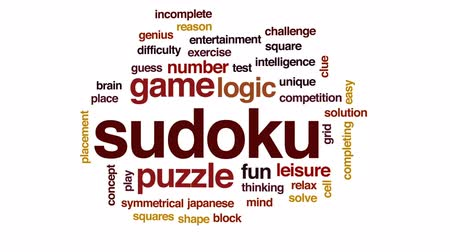 logic : Sudoku animated word cloud, text design animation.