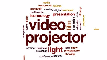 néző : Video projector animated word cloud, text design animation.