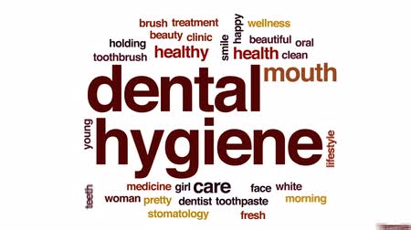 stomatologia : Dental hygiene animated word cloud, text design animation. Wideo