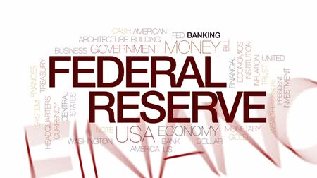 president of united states : Federal reserve animated word cloud, text design animation. Kinetic typography. Stock Footage