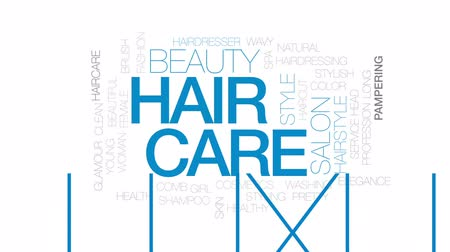 grzebień : Hair care animated word cloud, text design animation. Kinetic typography.