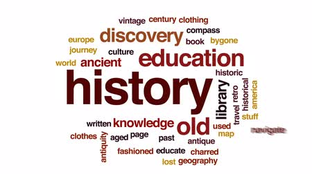 hajózik : History animated word cloud, text design animation.