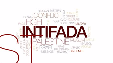 filistin : Intifada animated word cloud, text design animation. Kinetic typography. Stok Video