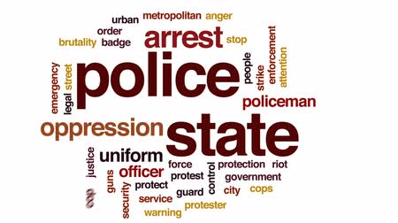 oppression : Police state animated word cloud, text design animation.