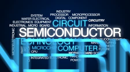 układ scalony : Semiconductor animated word cloud, text design animation.