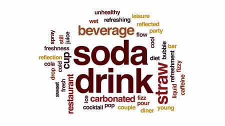 karbonatlı : Soda drink animated word cloud, text design animation.
