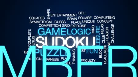 puzle : Sudoku animated word cloud, text design animation.