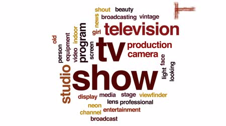 film camera : TV show animated word cloud, text design animation.