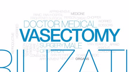 preocupar se : Vasectomy animated word cloud, text design animation. Kinetic typography.