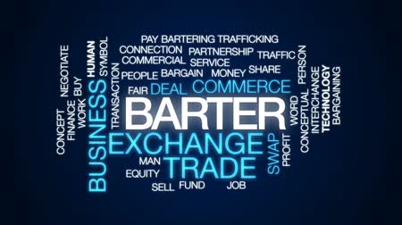barganha : Barter animated word cloud, text design animation.