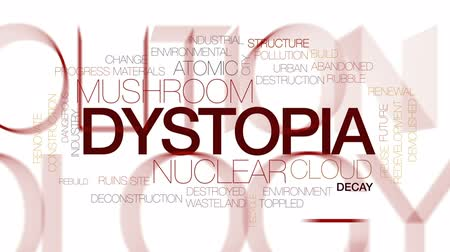 rebuild : Dystopia animated word cloud, text design animation. Kinetic typography.