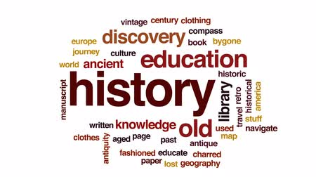 страница : History animated word cloud, text design animation.