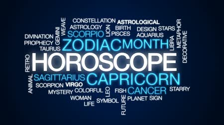 bak : Horoscope animated word cloud, text design animation.