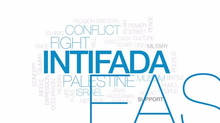 palestina : Intifada animated word cloud, text design animation. Kinetic typography. Stock Footage