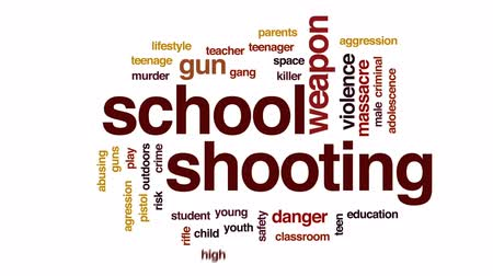 пистолеты : School shooting animated word cloud, text design animation.