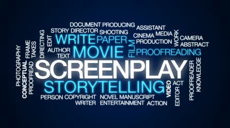 conta : Screenplay animated word cloud, text design animation.