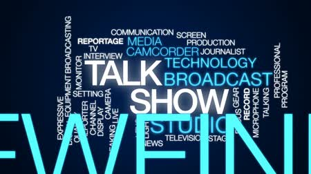mikrofon : Talk show animated word cloud, text design animation.
