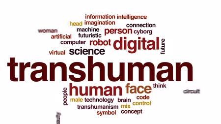humanoid : Transhuman animated word cloud, text design animation. Stock Footage