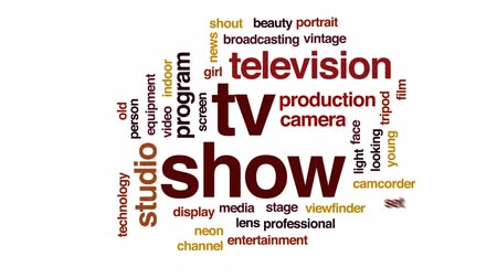 television set : TV show animated word cloud, text design animation.