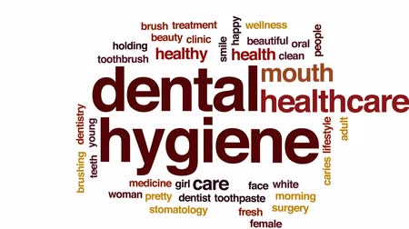 escova de dentes : Dental hygiene animated word cloud, text design animation. Stock Footage