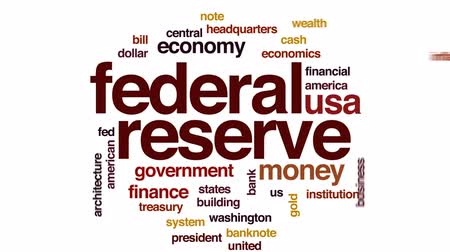 president of united states : Federal reserve animated word cloud, text design animation. Stock Footage