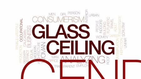 investigar : Glass ceiling animated word cloud, text design animation. Kinetic typography.