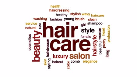 grzebień : Hair care animated word cloud, text design animation.