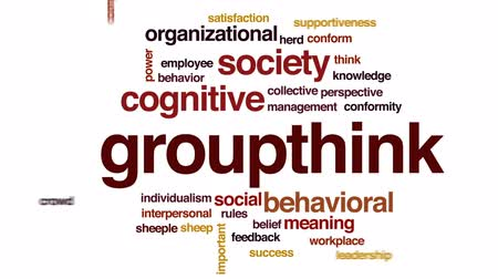 zingeving : Groupthink geanimeerde word cloud, tekstontwerpanimatie. Stockvideo