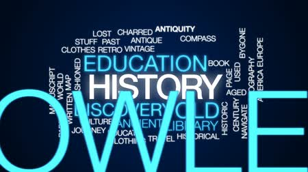 kompas : History animated word cloud, text design animation.
