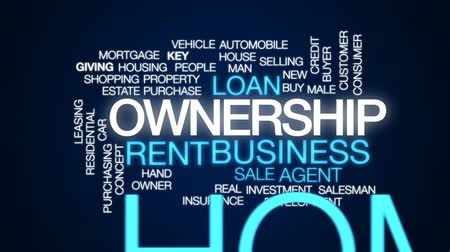 properties : Ownership animated word cloud, text design animation.