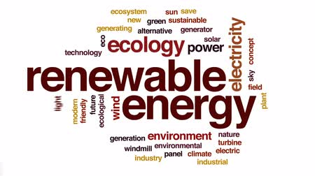 sustentável : Renewable energy animated word cloud, text design animation.